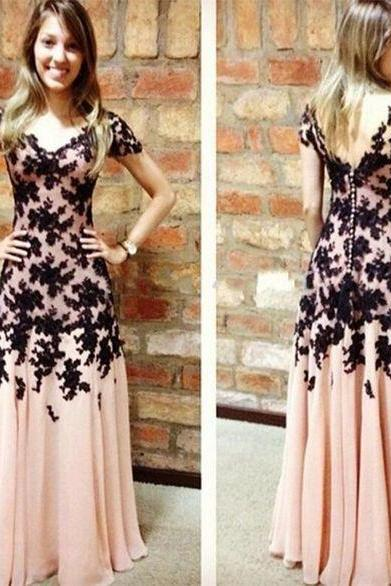 Preal Pink Prom Dress, Long Prom Dress, Chiffon Prom Dress, Applique Prom Dress, Short Sleeves Prom Dress, V Back Prom Dress, Buttons Back Prom Dress, Evening Dress, Homecoming Dress, Party Dress