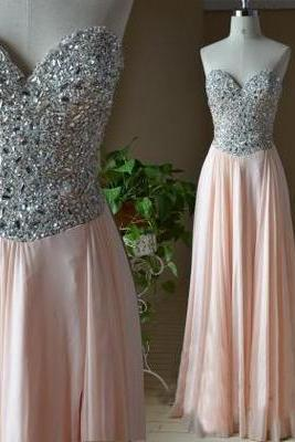 Prom Dress, Sweetheart Light Coral Chiffon Long Prom Dress, Beading Prom Dress, Lace Up Back Prom Dress, Evening Dress, Party Dress
