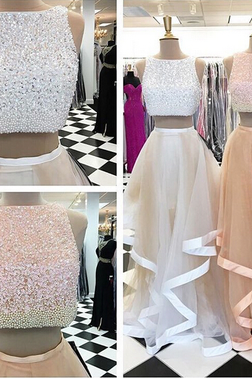 Prom Dress 2017, Ivory Prom Dress, Champagne Prom Dress, Tulle Prom Dress, Pearl Prom Dress, Beading Prom Dress, Two Pieces Prom Dress, Sleeveless Prom Dress, Evening Dress, Party Dress